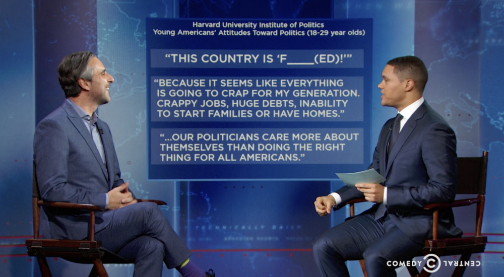 In 2016, before the election, John Della Volpe appears on The Daily Show with Trevor Noah, highlighting for the first time that young Americans express more fear than hope about America's future.
