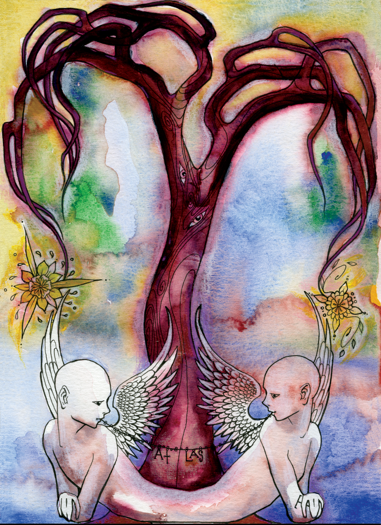 VI: Love (2003). Ink, watercolor, and colored pencil on paper.