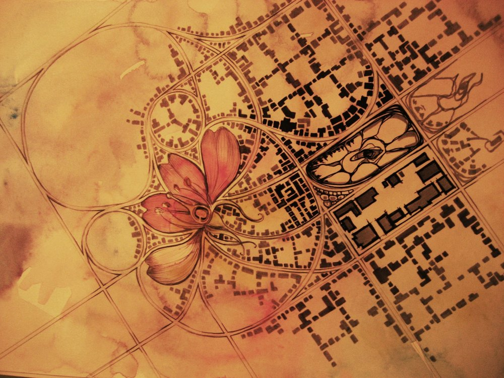 Future Cities, 2009. Ink and watercolor on paper.