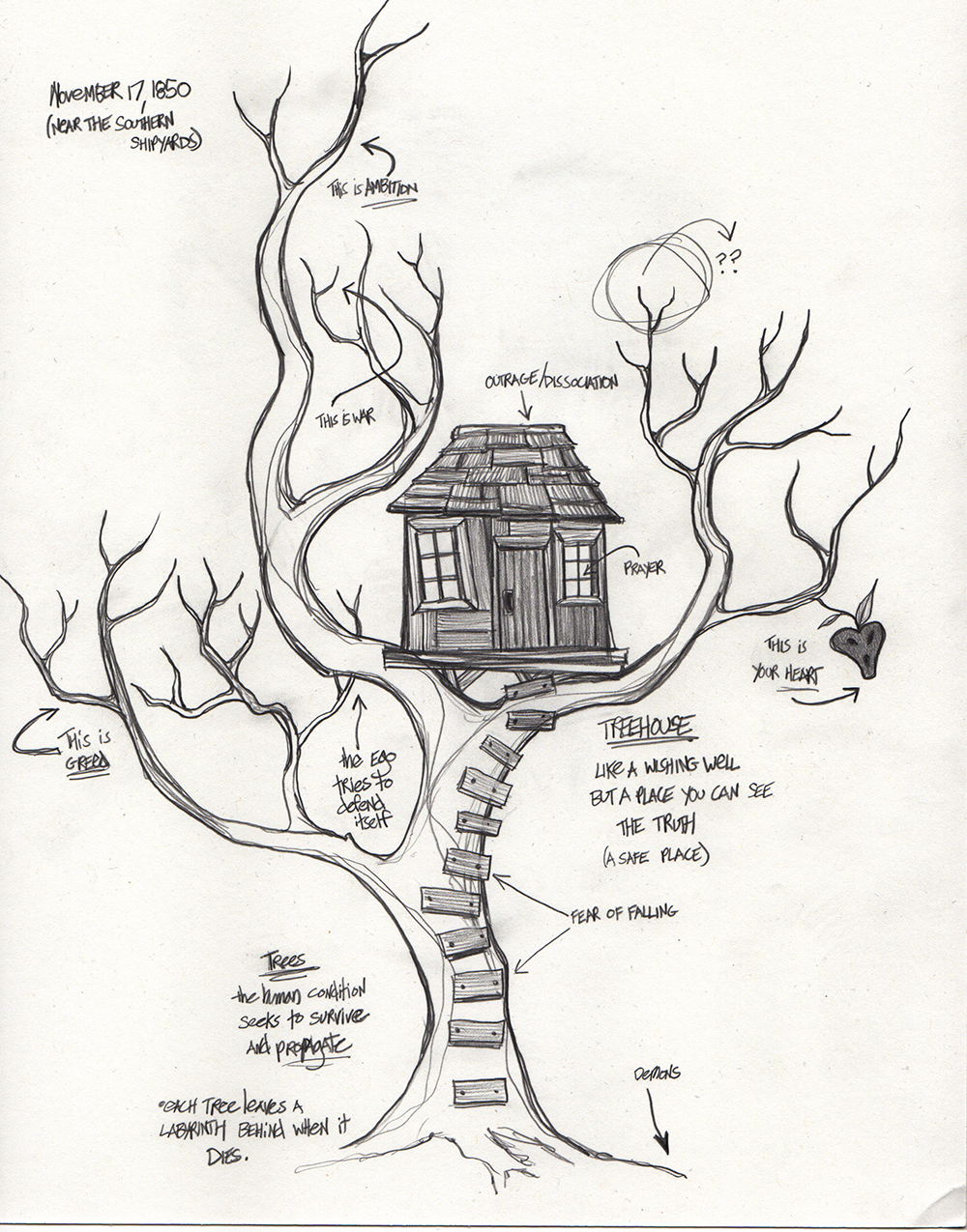 """Treehouse"". Graphite on paper."