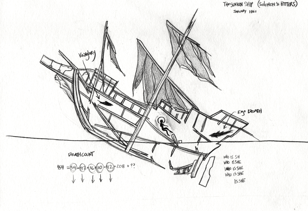 The Sunken Ship, graphite on paper.