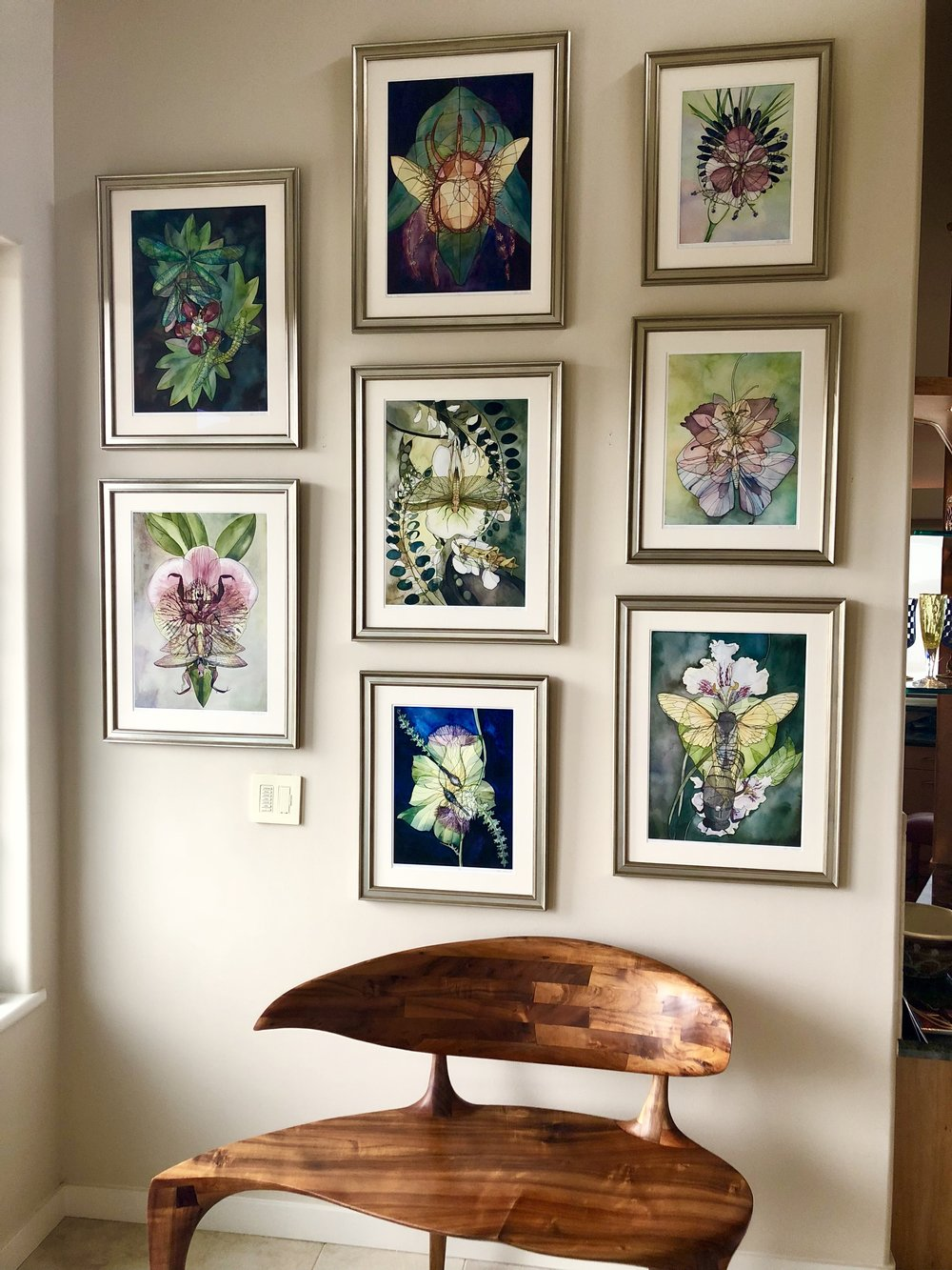 "Limited-edition prints of ""Lacewing x Maple"", ""Beetle x Rambutan"", ""Flowers"", ""Moth x Iris x Columbine"", ""Cicada x Catalpa"", ""Brimstone x Thistle"", ""Mantis x Orchid"", and ""Locust x Locust"". (Sold: Bodega Bay, CA)"