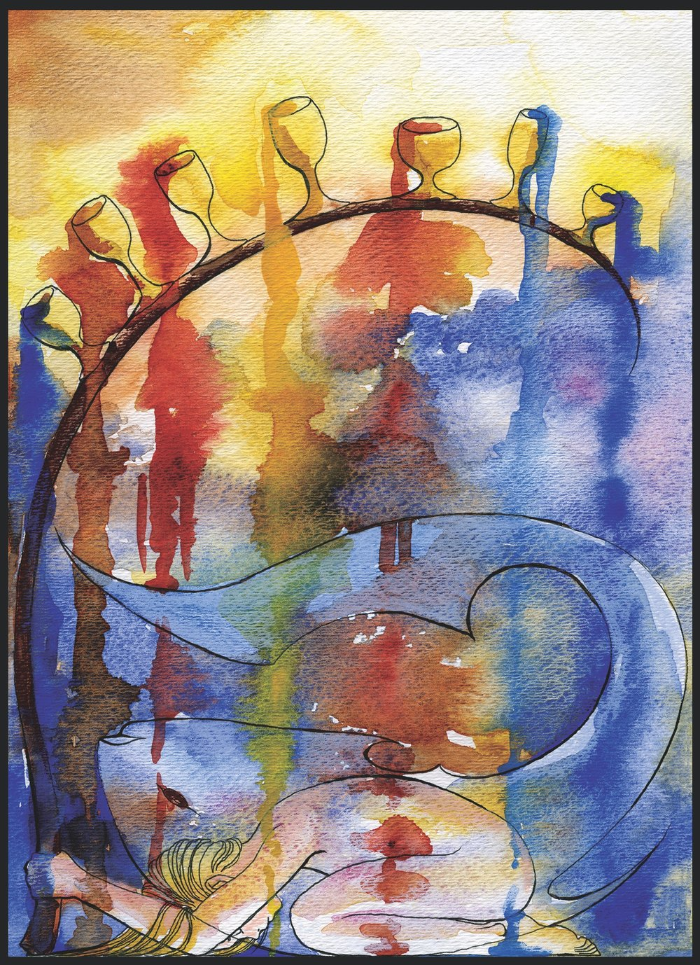The Seven of Cups (2004). Ink, watercolor, and prismacolor on paper.