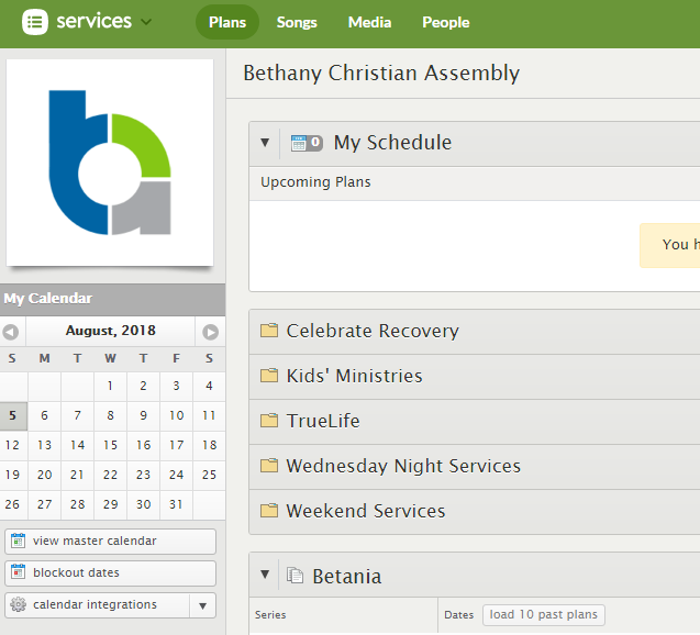Each ministry has a schedule that can be customized with times and categories to meet their needs.