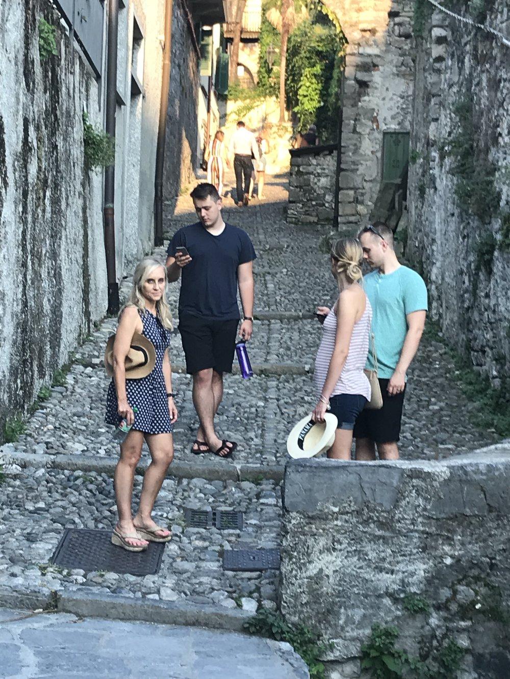 Exploring the steep cobblestone streets of Lake Como.