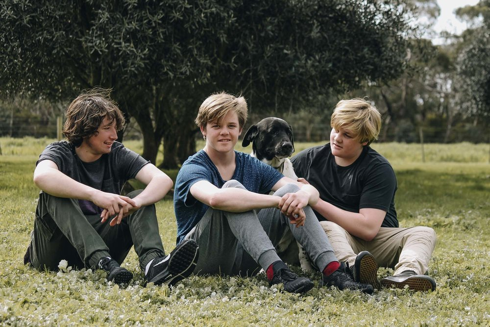 Zeb, Tom, Jack and Charlie the dog.