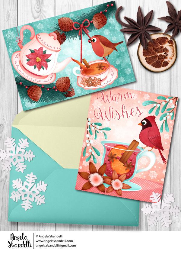 Christmas chubby birds Christmas Greetings cards