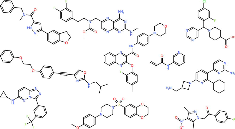 Sample molecules generated by the SMILES LSTM model.