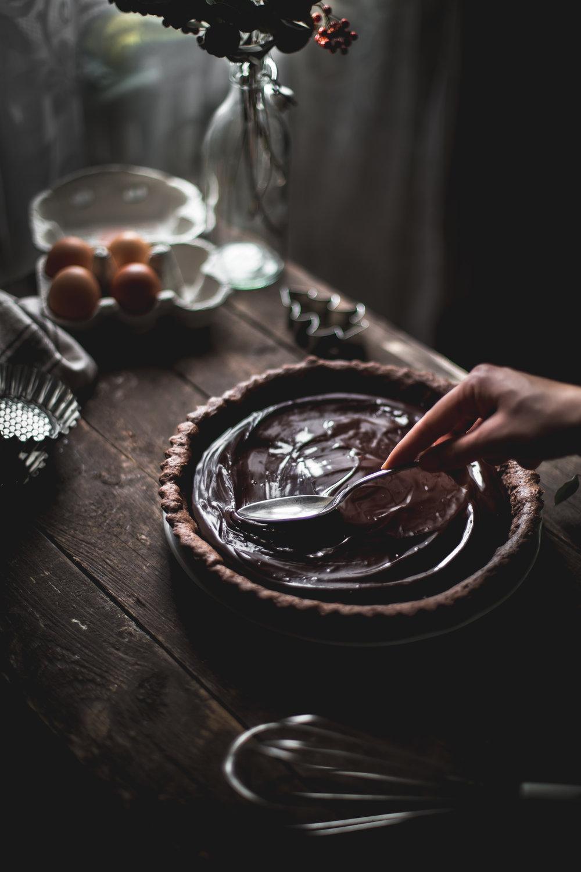 Dark chocolate meringue tart