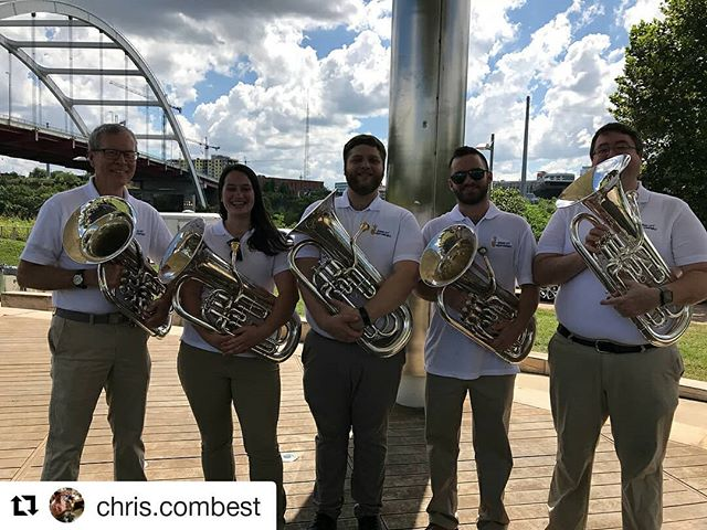 Great shot of our super #euphonium section from our show! They rocked it!  #Repost @chris.combest (@get_repost) ・・・ A fun concert today with the MCBE. Who's the guy on the end? A total mystery.