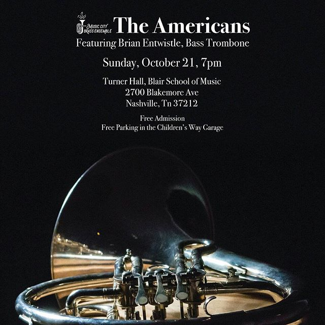 "Don't forget about our show this Sunday, October 21 at 7! Come enjoy works from the contemporary side of the classical canon: the ""oldest"" piece we're playing was written in 1952!  #musiccity #brass #concert #nashville #nash #615 #do615 #trumpet #horn #trombone #euphonium #tuba #percussion #classicalmusic #americanmusic #newmusic #freeshow"