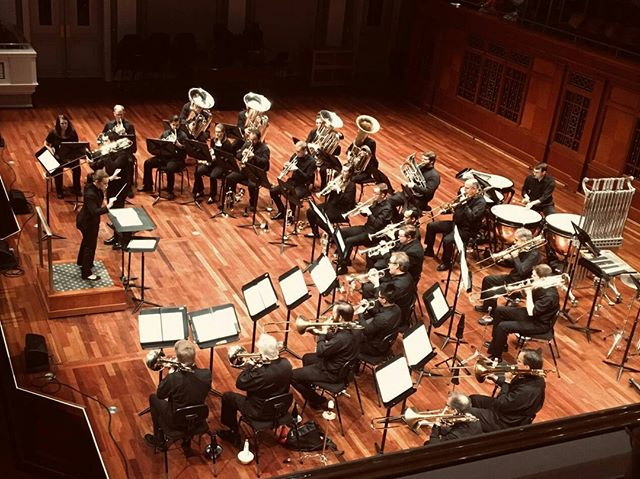 "Here's an action shot of us performing David Uber's ""Skylines"" during the @nashvillesymphony Free Day of Music last weekend! Our soloist, Brian Entwistle, did a fantastic job, as did the rest of the crew. More photos from the weekend coming soon! #musiccity #brass #nashville #americanmusic #solo #freedayofmusic #trumpet #horn #trombone #euphonium #tuba #percussion #conductor"