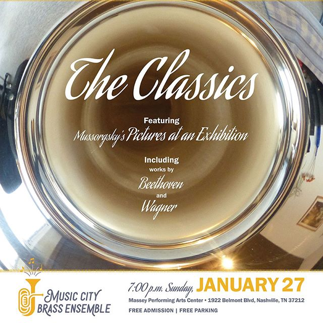The Music City Brass Ensemble is back again this weekend with a concert full of pieces from the classical canon. Join us for this free performance of orchestral home cooking! Additional details here: http://ow.ly/i54C30nrjfc - #mcbe #nashville #brass #musiccity #classicalmusic #trumpet #horn #trombone #euphonium #tuba #percussion #beethoven #wagner #dukas #mussorgsky