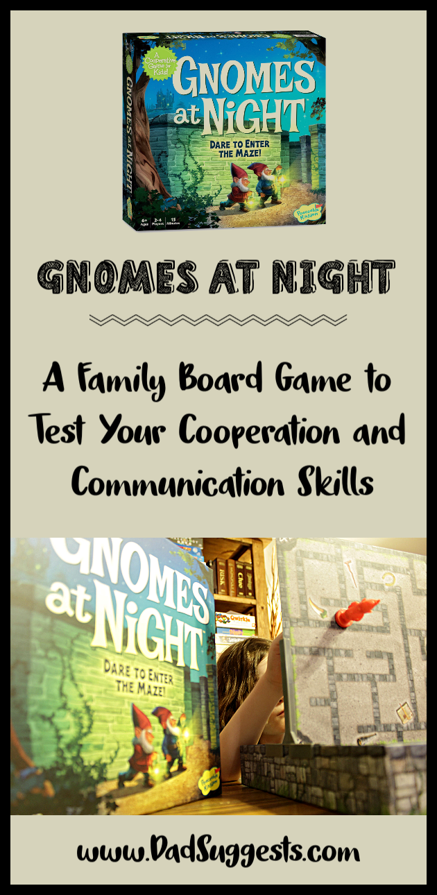 Gnomes at Night by Peaceable Kingdom is a family board game that tests your cooperation and your communication skills. A great family game to choose for family game night with the kids.  #familygames #boardgames #kidsgames #familygamenight #dadsuggests