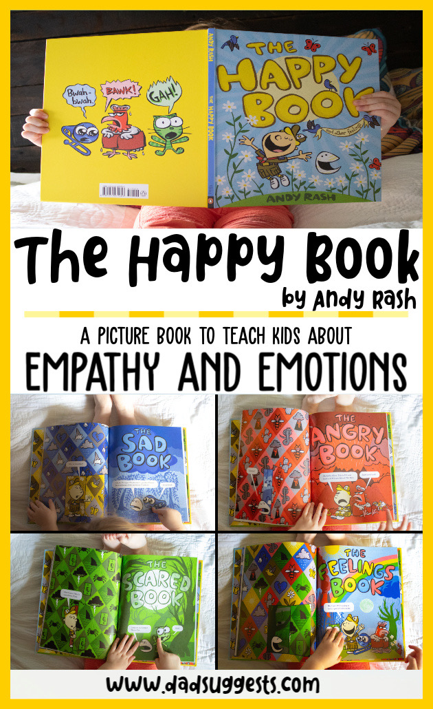 The Happy Book by Andy Rash is a wonderful choice of picture book for teaching empathy to your kids. It's a wonderfully original exploration of feelings and friendship to share with your family. #picturebooks #kidsbooks #bestpicturebooks #empathy #dadsuggests