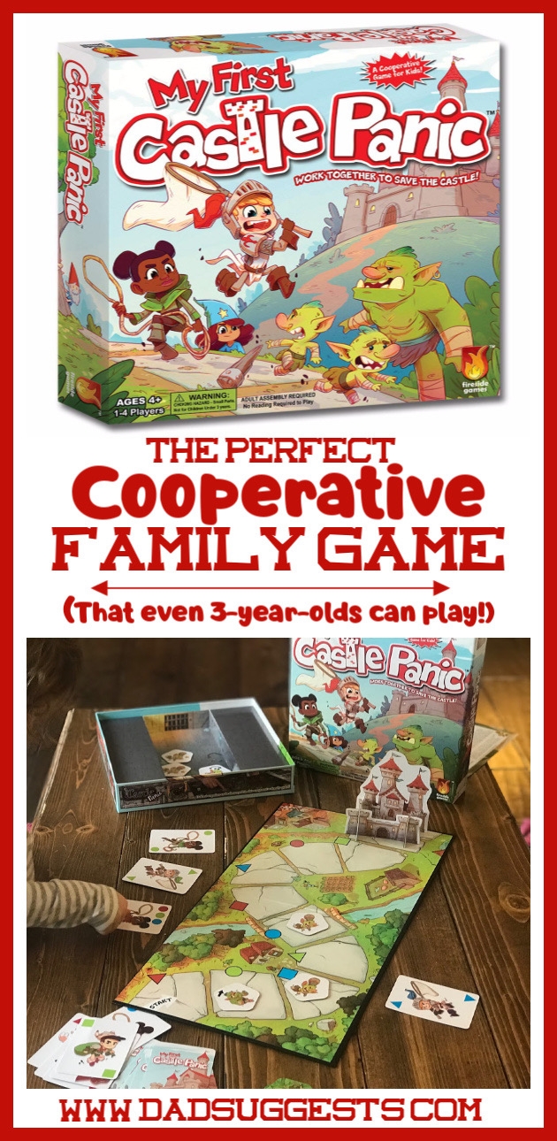 Cooperative games are perfect for family game night.  My First Castle Panic  is the perfect family board game. It's a fantasy-themed tower defense game that even your 3-year-old can join in on.   #familygames #kidsgames #boardgames #familygamenight #cooperativegames #dadsuggests