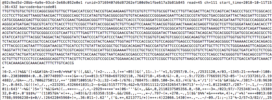 raw data of each DNA sequence and quality score
