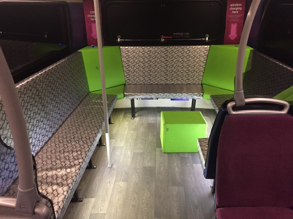 "The ""social seating"" at the rear of one of Reading Buses' Claret Spritzer buses, which normally operate routes 21/21a past Reading University, and also provided a handy venue for part of our meeting today"