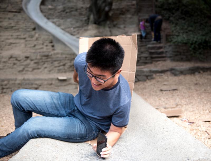 James on stone slide