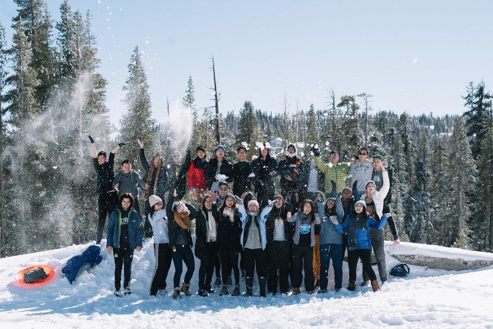 Sierra Lodge Winter Trip Snow Fight