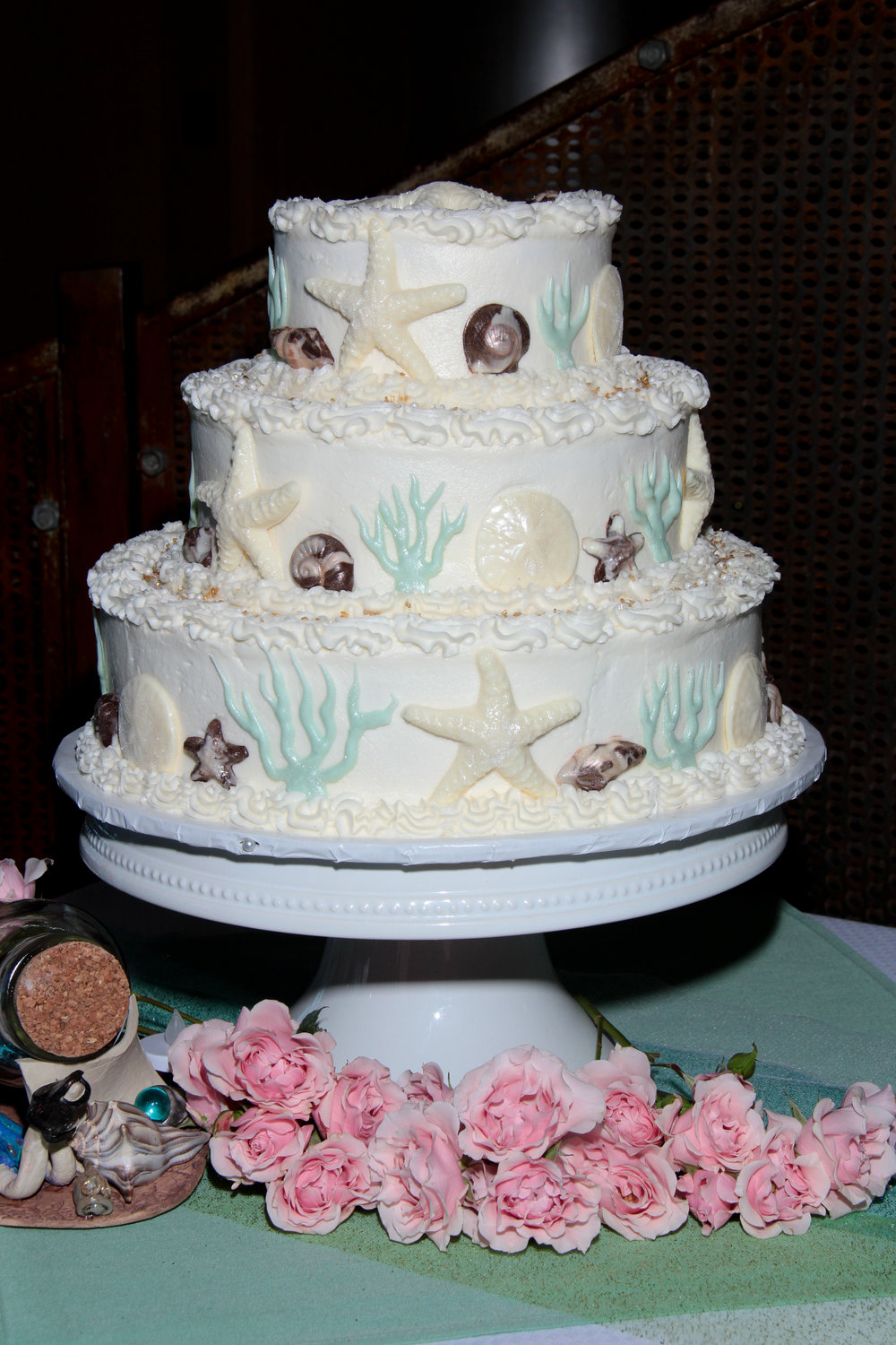 Tybee Island best wedding cake chocolate seashell