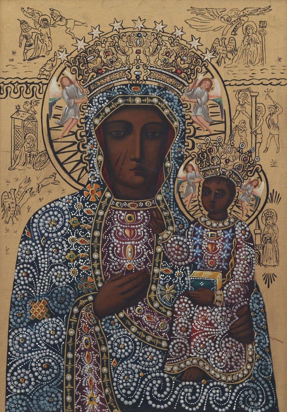Religious Icon Painting Black Madonna of Częstochowa, $375  —Nick Haus, Etsy