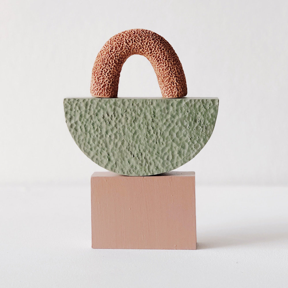 Small Space, Sculpture in Terracotta and Timber, $80  —Alichia Van Rhijn, Hearth Collective