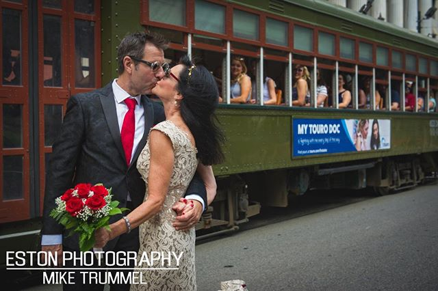 It's not a NOLA wedding without a street car. Props to all the passengers who gave this awesome couple a round of applause. #nikon #nola #nolawedding #nolaweddingshots