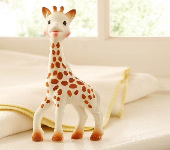 Sophie the Giraffe - This tried and true teething toy is my daughter's favorite teether! She started teething at four months and it was very easy for her to hold onto. Sophie goes with us everywhere!