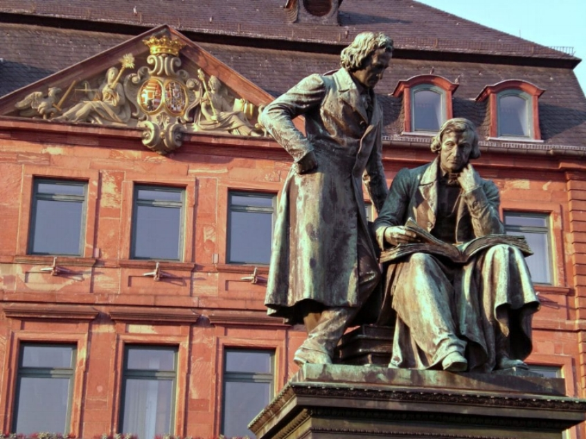 Statue of the Grimm Brothers in their Hometown of Hanau, Germany