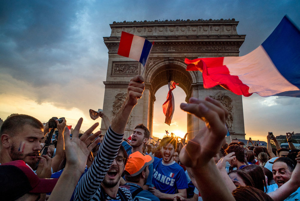 Victory of France over the football worldcup 2018