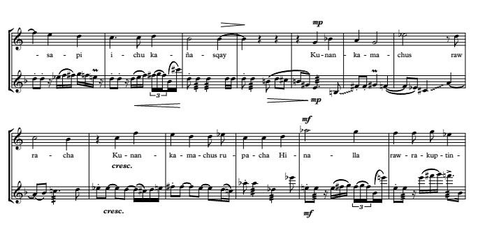 KIMSA HARAWICHA for soprano, alto fl.