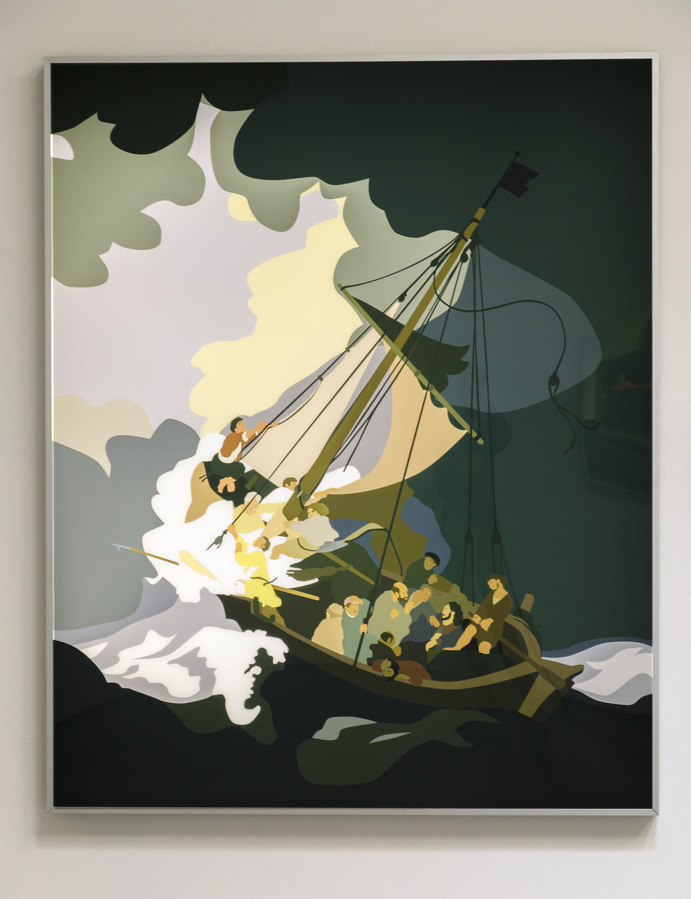 Kota Ezawa,  The Storm on the Sea of Galilee , 2015, duratrans transparency and LED lightbox, 62-1/2 x 50-1/2 x 2-3/4 inches, 159 x 128 x 7 cm, edition of 5, with 2 AP