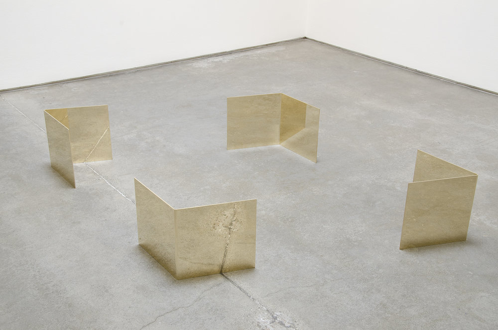 Teleplastic Configuration (Sleep Architecture) , 2014 brass 11-1/8 x 78 x 78 inches (dimensions variable), 30.48 x 198.12 x 198.12 cm  each element: 11-1/8 x 11 x 11 inches, 28.39 x 27.94 x 27.94 cm DM002