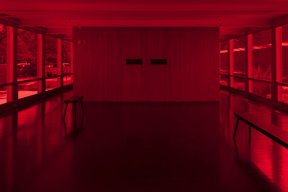 Iñigo Manglano-Ovalle: Untitled Film (Red) , installation view, Elmhurst Art Museum, Elmhurst, IL, 2018. Photograph: James Prinz