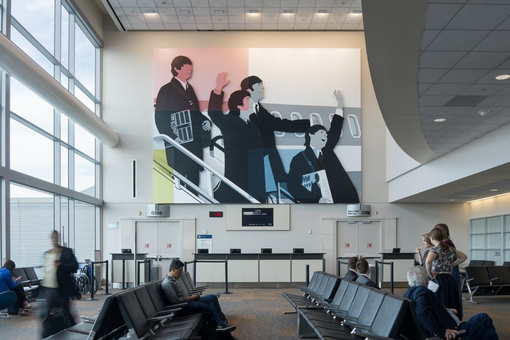 Kota Ezawa,  Mondrian Meets the Beatles , San Francisco International Airport, International Terminal, Gate G100. Photo: Ethan Kaplan Photography, 2017. Courtesy of the San Francisco Arts Commission