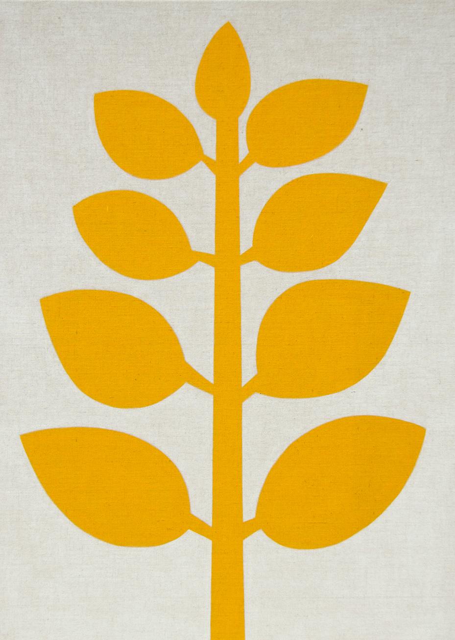 Yellow Plant (Light) #1 , 2017 acrylic on jute 78-3/4 x 57 inches, 200 x 145 cm ABM098