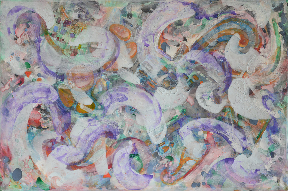 """Purple Swirls on Top   Acrylic on Stretched Canvas  24"""" x 36"""""""