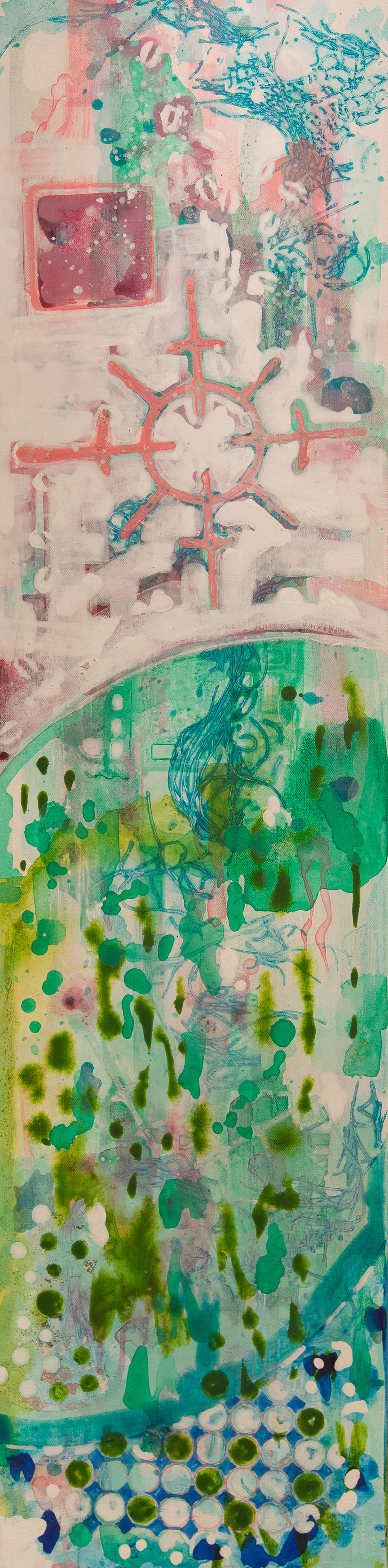 "Garden Post  A crylic on Canvas on Panel  12"" x 48"""