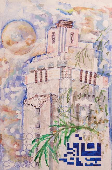 "Sunset Tower   Acrylic on Canvas  20"" x 30"""