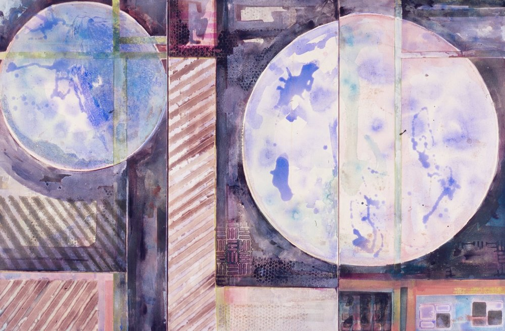 """Painterly Circle Composition  A crylic on Canvas Panel  Triptych each panel 36"""" x 48"""""""
