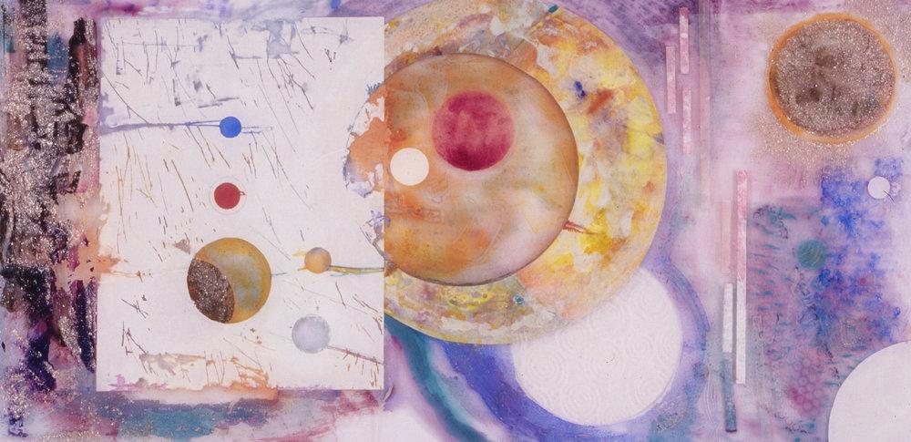 Ode to Popovov #1  A crylic on Plexiglass, Hinged Mahogany Panels, set of 4  size