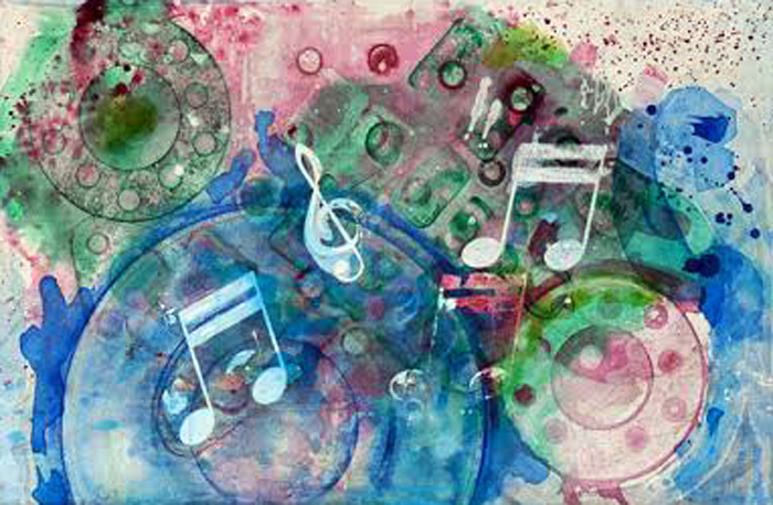 """Into the Music   Acrylic on Canvas on Board  14"""" x 22"""""""
