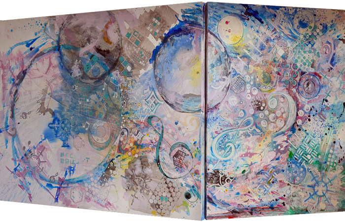 """Message in the Music   Acrylic on Canvas on Board Diptych  48"""" x 36"""" & 48"""" x 60"""""""