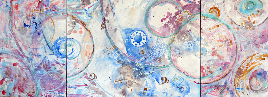 """Music of the Spheres   Acrylic on Canvas on Board Triptych  36"""" x 24"""" & 36"""" x 48"""" & 36""""x 24"""""""