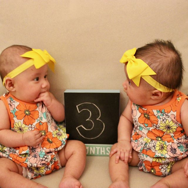 We are 3 months old! We definitely have gotten bigger! We love to look at each other more and more. We are cooing like crazy and love to be entertained! #madelinerey #emiliarose #3monthsold #twinning