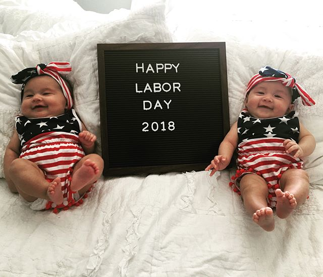 Happy Labor Day from the Lucio Twins! #twinning #laborday2018 #emiliarose #madelinerey