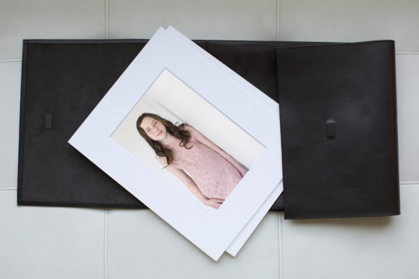 Black Leather Portfolio with Portraits in White Mats