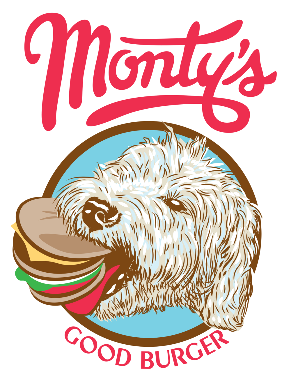 Illustration of Dog with Hamburger in Mouth
