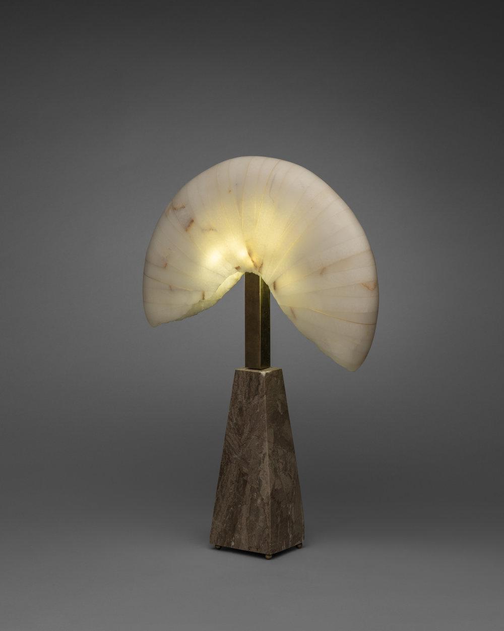 "Nautilus #1  5"" x 4"" x 24""  Marble Base, Calcite Upper, Brass"